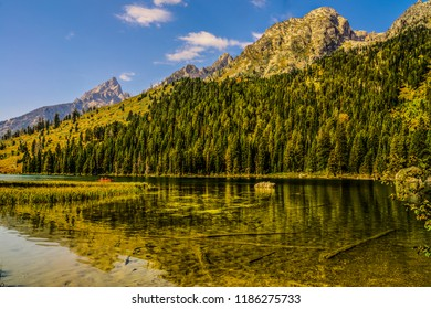 Boating is a popular sport on beautiful Leigh Lake in Grand Teton NP in early Autumn, with the trees beginning to change color. Numerous reflections of the mountains and peaks are apparent.