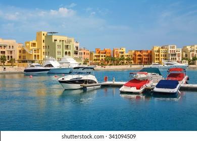 Boats in Abu Tig Marina. El Gouna, Red Sea, Egypt, North Africa