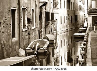 Boats along the canal, Venice, Italy