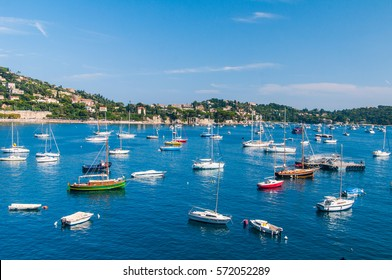 Boats anchored in the bay of Villefranche, French Riviera