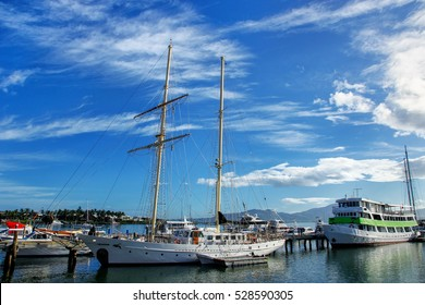 Boats anchored at Denarau port, Viti Levu, Fiji. Denarau Island is the largest integrated resort in the South Pacific.