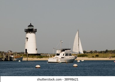 Boats anchored in Nantucket Sound near Edgartown Harbor Lighthouse