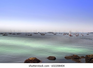 Boats anchored on Long Island Sound - Greenwich, Connecticut