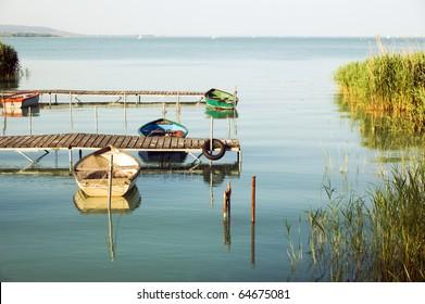 boats in Balaton lake