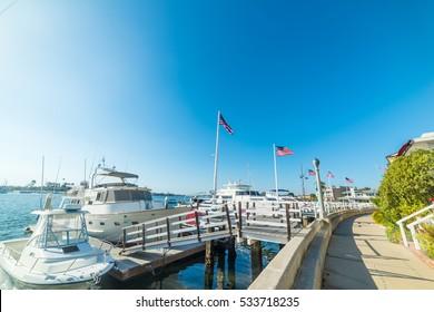Boats in Balboa island, California