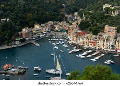 A lot of boats in the bay of the Ligurian Sea in Italy