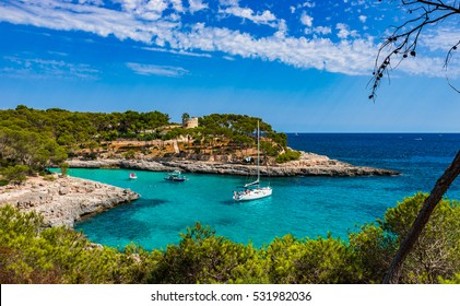 Boats in a beautiful bay, Majorca Island, Spain.