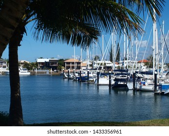 Boats berthed at a tropical waterfront marina with Palm tree and blue sky backdrop. Safe haven for sailing and cruising vessels. Mooloolaba, Queensland Australia.