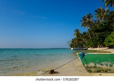 Boat's bow on the beautiful tropical beach on Karimunjawa island, Indonesia