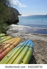 boats at Calanque de Sormiou Calanques National Park Marseille Provence April France