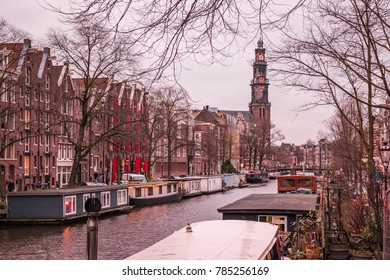 Boats in the canal, Amsterdam