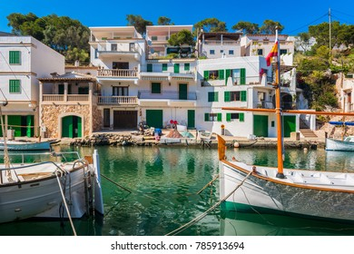Boats in Canal in Cala Figuera Mallorca Spain