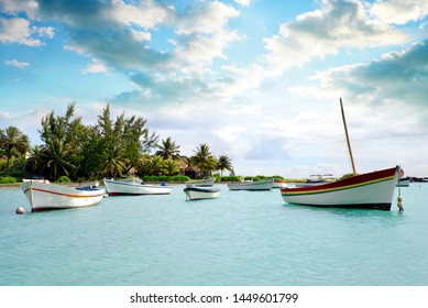 Boats in Cap Malheureux, Mauritius island, Indian Ocean.