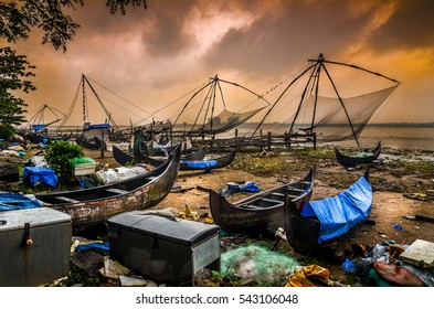 Boats and chinese fishing nets in Fort Kochi, Kerala, India