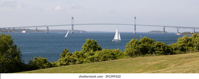 Boats with Claiborne Pell Bridge, Newport, Rhode Island