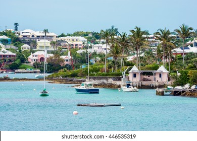 Boats and colorful architecture along the shoreline in Hamilton Bermuda.