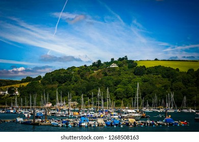 Boats in the Dartmouth Harbor in Devon, southern England
