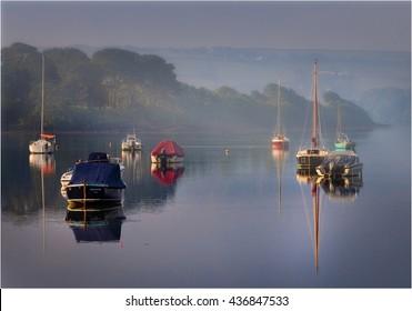 Boats at dawn on Kingsbridge estuary