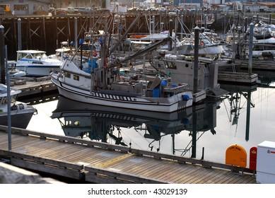 Boats at Dock in Morning at Kodiak Harbor, Alaska