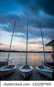 Boats at Dock at Sunset