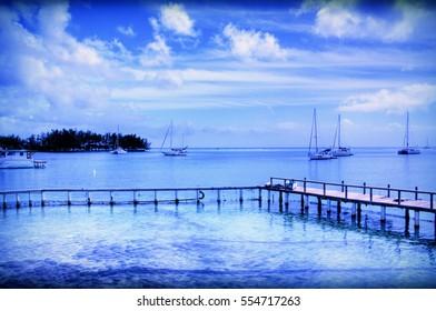 Boats docked in Caribbean harbor