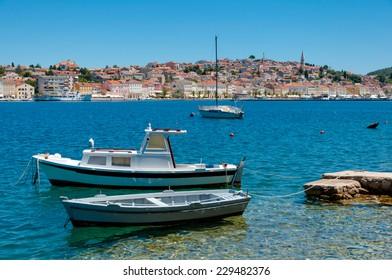Boats docked in front of Mali Losinj in Croatia
