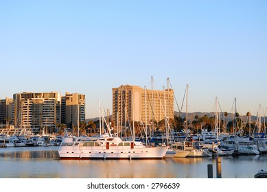 Boats docked in Marina Del Rey California