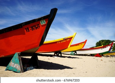 Boats docked on a beach in Puerto Rico