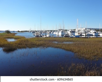 Boats docked in the Southport, North Carolina marina