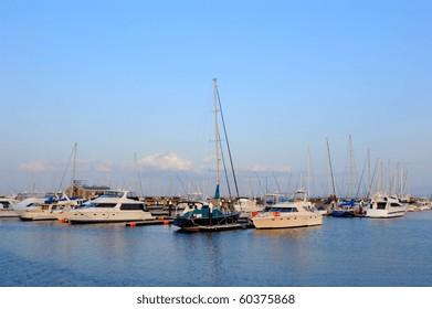 Boats docking at Yokohama bay, Japan.