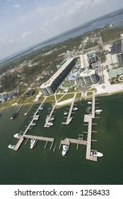 Boats, docks and resort from the air