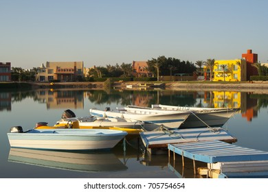 Boats in early morning sunlight, El Gouna Resort, Red Sea, Egypt