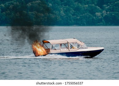 The boat's engine caught fire. Motor boat used for tourist tours