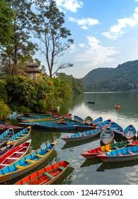 Boats at Feva (Pheva) lake in Pokhara,Nepal