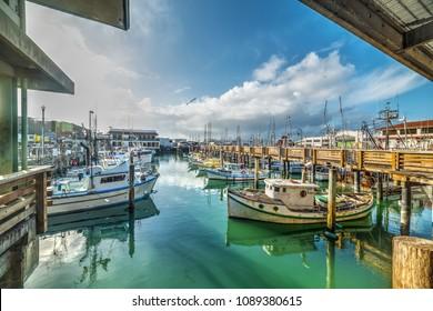Boats in Fisherman's wharf in San Francisco. California, USA