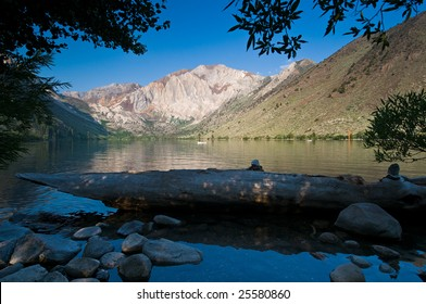 Boats fishing for trout in Convict Lake, California