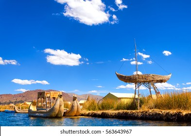 Boats and floating islands made of reeds known as totora on Lake Titicaca in Peru