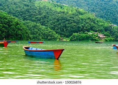 Boats Floating in the Lake Pokhara, Pokhara, Nepal