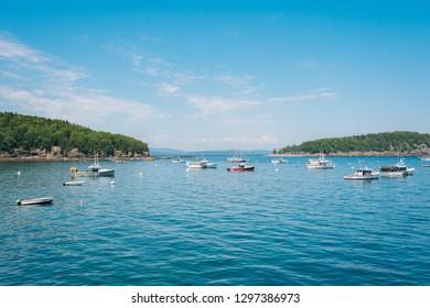 Boats in Frenchman Bay, in Bar Harbor, Mount Desert Island, Maine