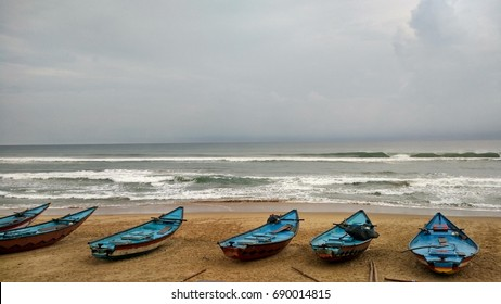 Boats at the Gopalpur seashore