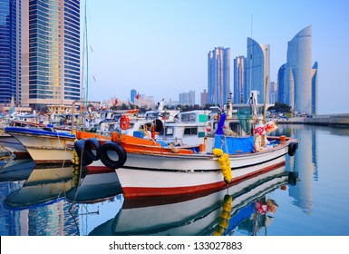 Boats at Haeundae, Busan, South Korea