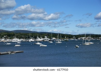 Boats in harbor,		Southwest Harbor,	Mount Desert Island, Acadia National park, Maine, New England