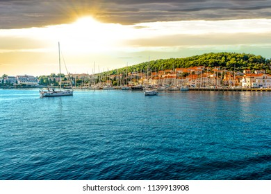 Boats in the harbor of the Croatian coastal city of Hvar, one of the many Islands near Dubrovnik and Korcula on the Dalmatian Coast of Croatia