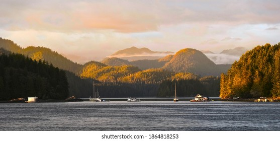 Boats in harbor and rocky islands at sunset. Tofino. Pacific Rim National Park Reserve. British Columbia. Canada