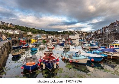 Boats in the harbour at Mevagissey on the south coast of Cornwall near St Austell