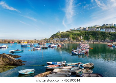 Boats in the harbour at Mevagissey, a pretty fishing village on the south coast of Cornwall