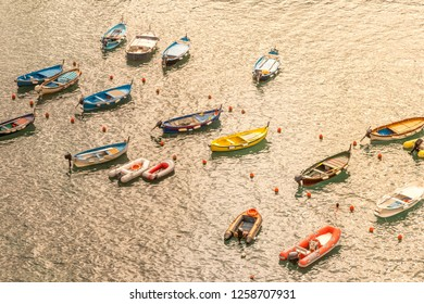 Boats at Harbour of Vernazza. View over the Cinque Terre village of Vernazza, Italy. View from the famous hiking trail