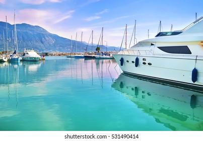 boats at Kalamata port Peloponnese Greece