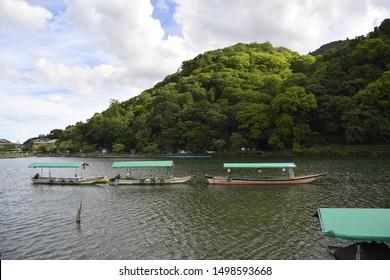 Boats at at Katsura River in Arashiyama, Kyoto, Japan