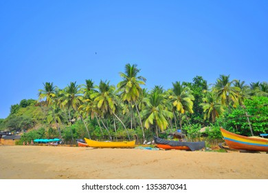 Boats kept in Agonda beach in Goa.